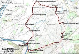 Croquis de la ruta a la Penya del Papiol