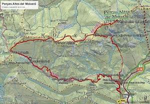 Croquis de la ruta al Penyes Altes del Moixeró
