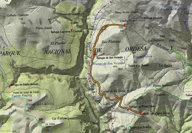 Croquis de la ruta de Plana Canal a Cuello Viceto