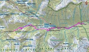 Croquis de la ruta al Portarró d'Espot