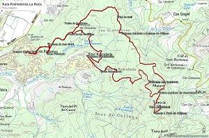 Croquis de la ruta prehistórica de La Roca