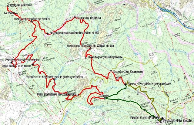 Croquis de la ruta al Puig de Madrona