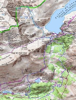 Croquis de la ruta circular al Puig Pedrós de Lanós