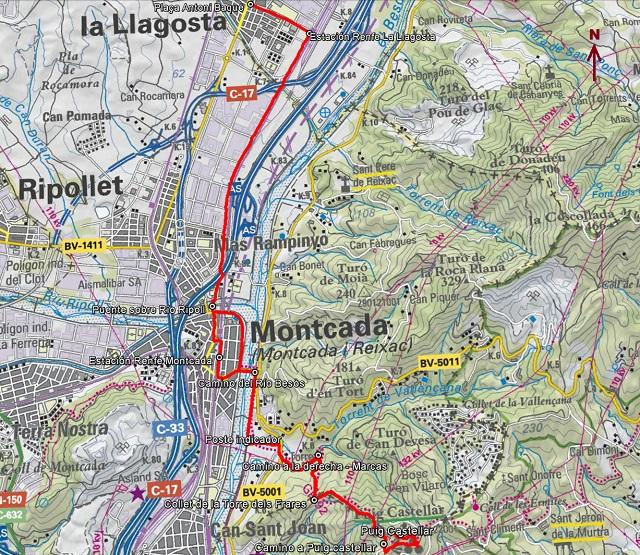 Croquis de la ruta al Puig Castellar