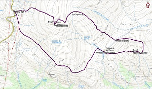 Croquis de la ruta al Puigllançada y al Tossal de Rus desde el Coll de Pal