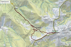 Croquis de la ruta al Puigmal por Err