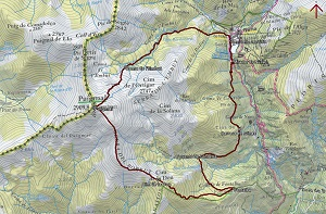 Croquis de la ruta al Puigmal por Fontalba