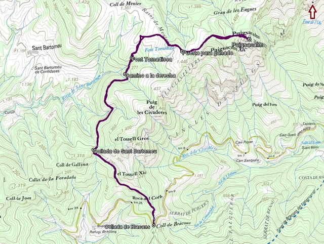 Croquis de la ruta al Puigsacalm