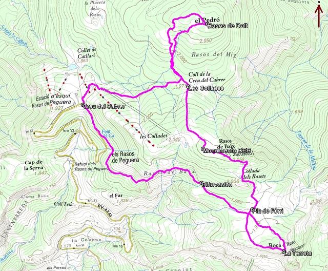 Croquis de la ruta circular a Rasos de Peguera con raquetas