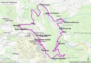 Croquis de la ruta a la Riera de Talamanca