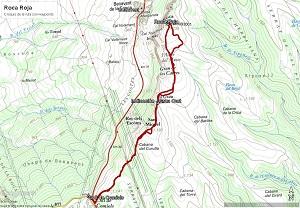 Croquis de la ruta a la Roca Roja