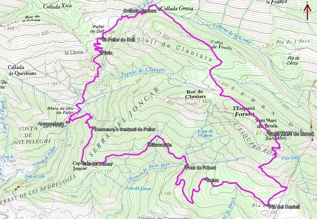 Croquis de la ruta al Sant Marc de Brocà desde la Mare de Déu de Paller
