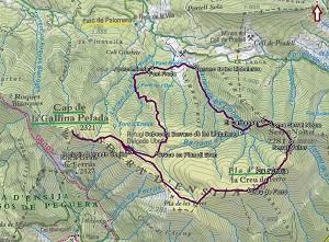 Croquis de la ruta circular a la Serra d'Ensija