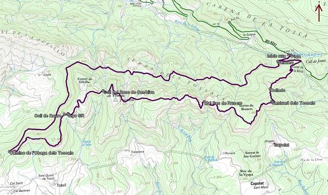 Croquis de la ruta a la Serra dels Tossals