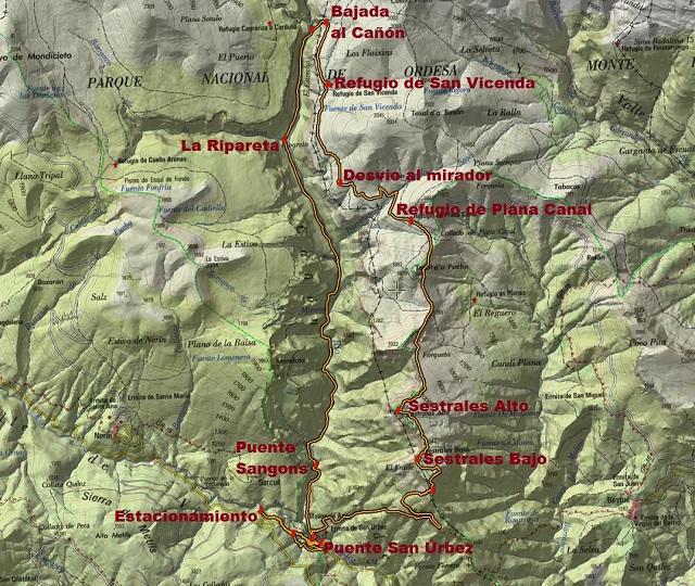 Croquis de la ruta circular a los Sestrales y al Cañón de Añisclo