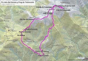 Croquis de la ruta al Pic dels Set Homes y al Puig de Tretzevents