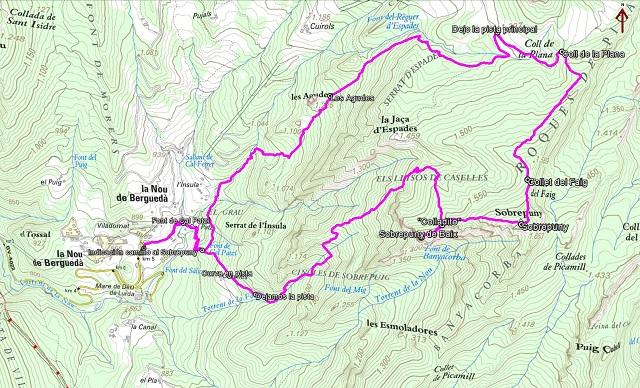 Croquis de la ruta al Sobrepuny