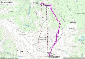 Croquis de la ruta a la Torreta de l'Orri
