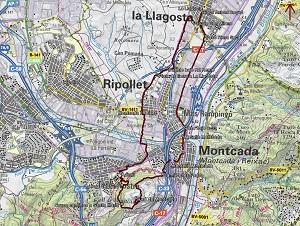 Croquis de la ruta al Turó de Montcada