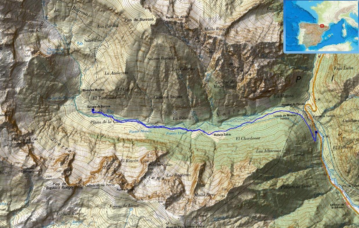 Croquis de la ruta en el Valle de Barrosa