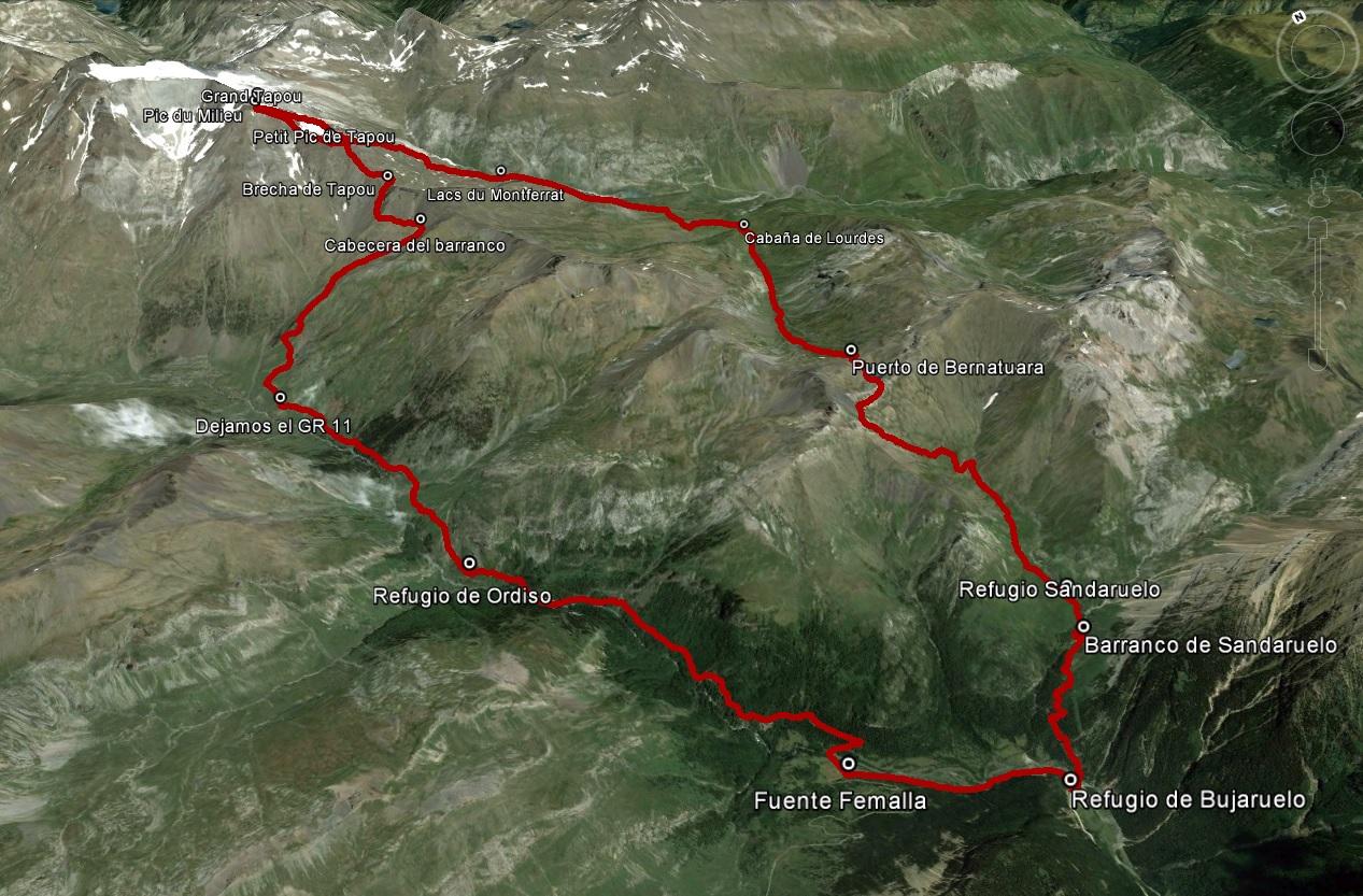 Croquis de la ruta al Pic de Milieu y al Grand Tapou